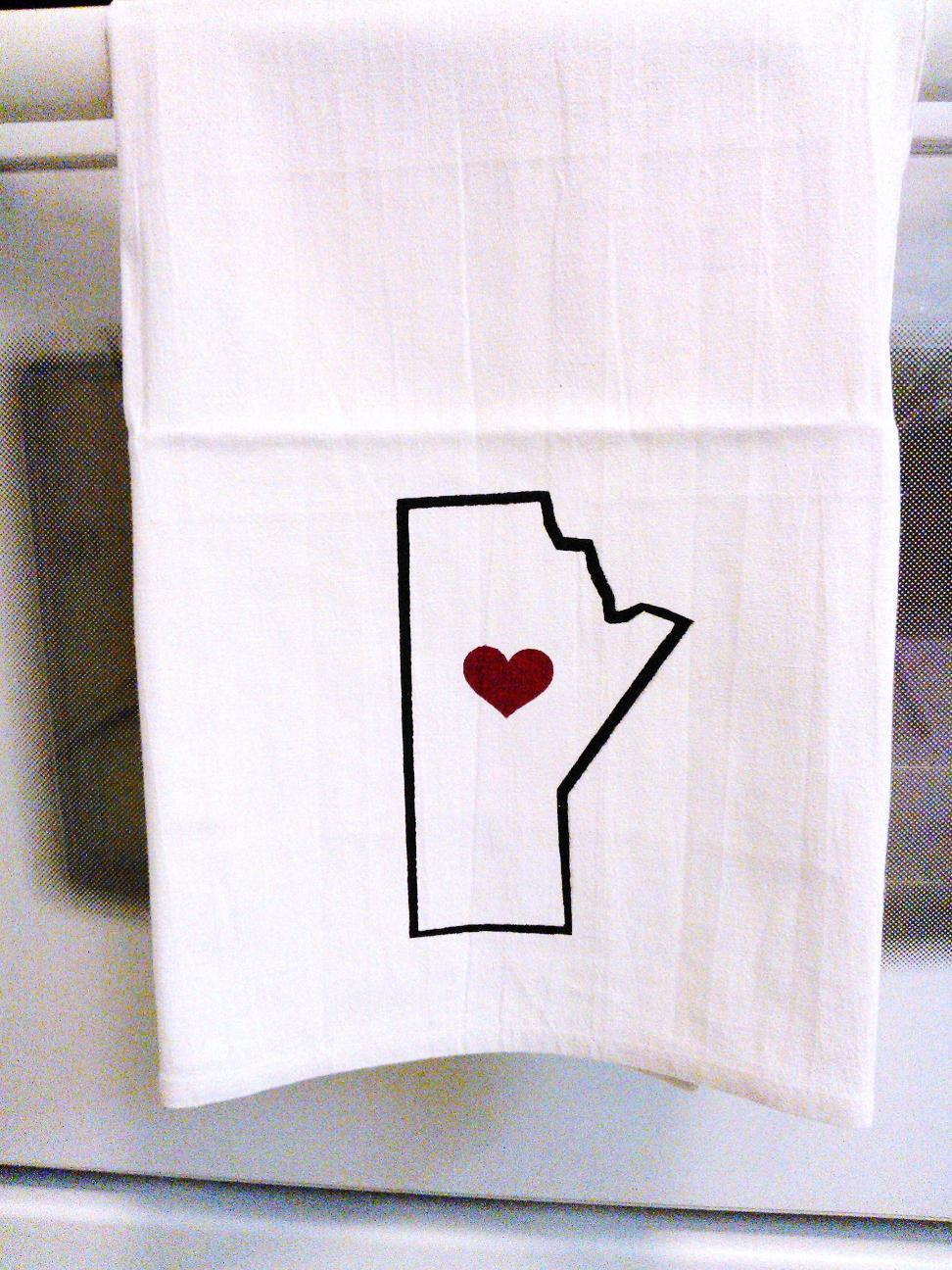 Silk screened Manitoba themed dish towels!
