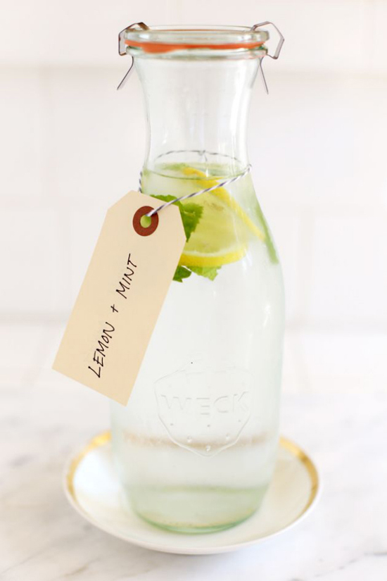 Lemon mint water recipe by Nancy Creative via Brit+Co