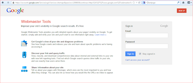 Google Webmaster Tools Login