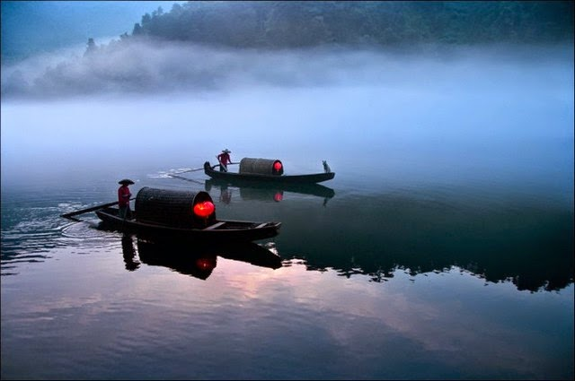 Crossing the river early in the morning in China