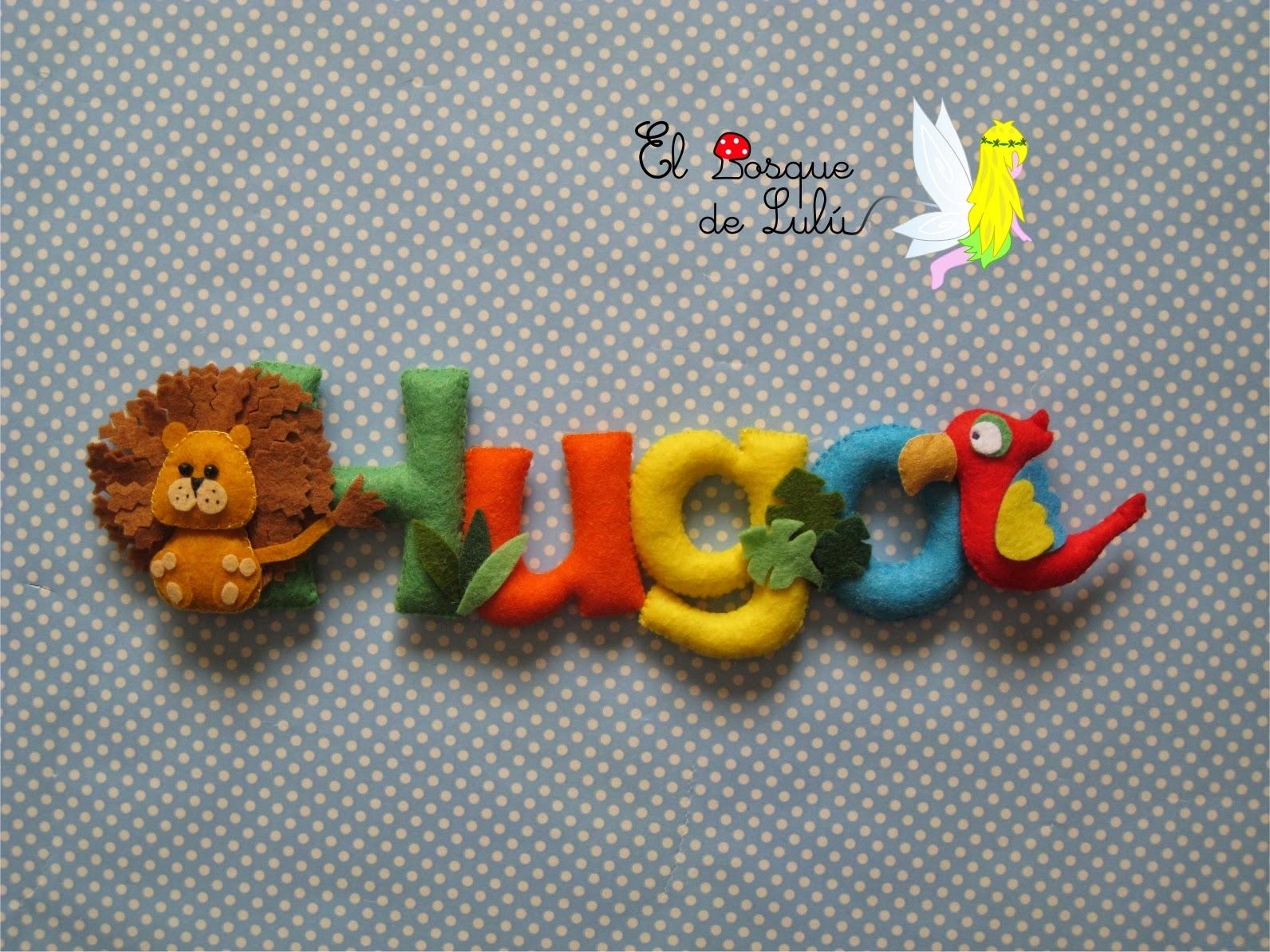 Nombre-decorativo-en-fieltro-de-fieltro-name-banner-felt-decoración-infantil-animales-león-loro-Hugo