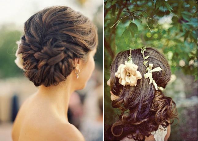 Прическа с цветами в волосах на короткие волосы