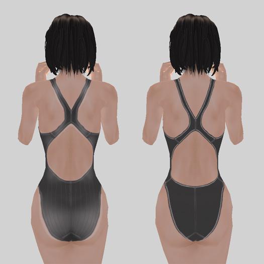 新旧競泳水着の違い(後面)