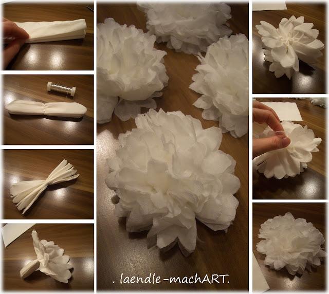 DIY Blüten, Servietten, Seidenpapier, Schritt für Schritt