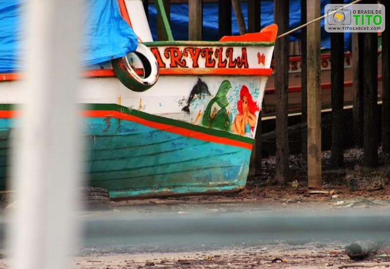 Barco Aryella no distrito de Marudá, em Marapanim, no Pará