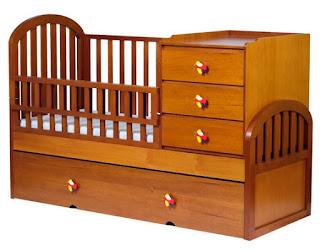 cunas en madera de color, cunas lindas, cunas con diseños bonitos, cunas con muchas gavetas