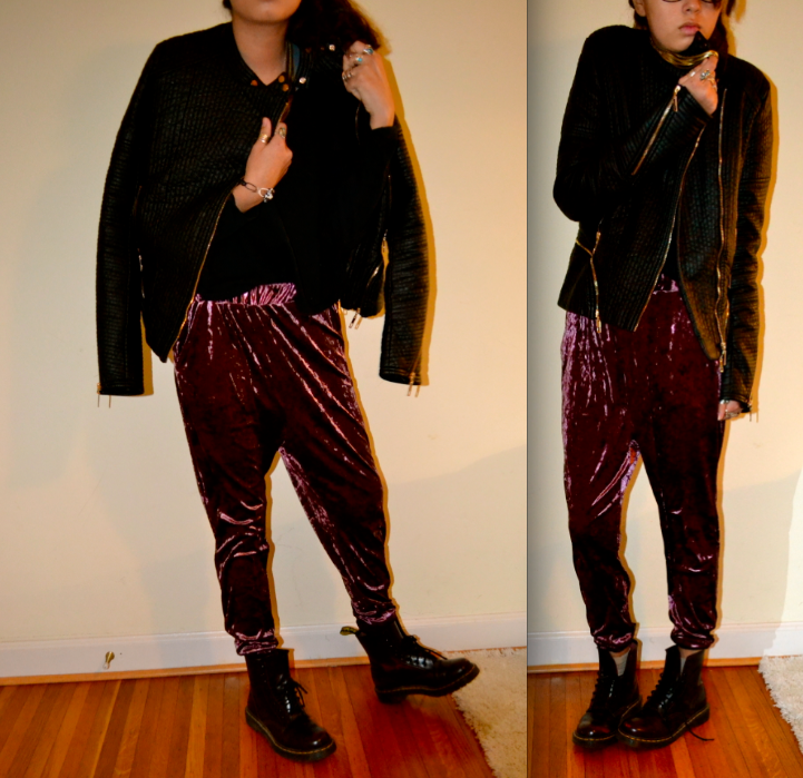 velour harems and leather jacket