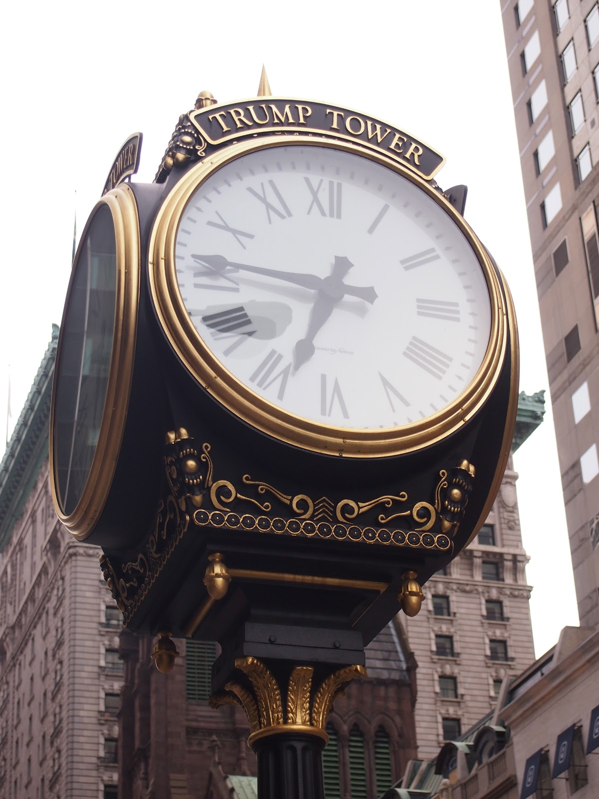Clock outside Trump Tower. I wonder if this is where Paul Teutel, Sr ...
