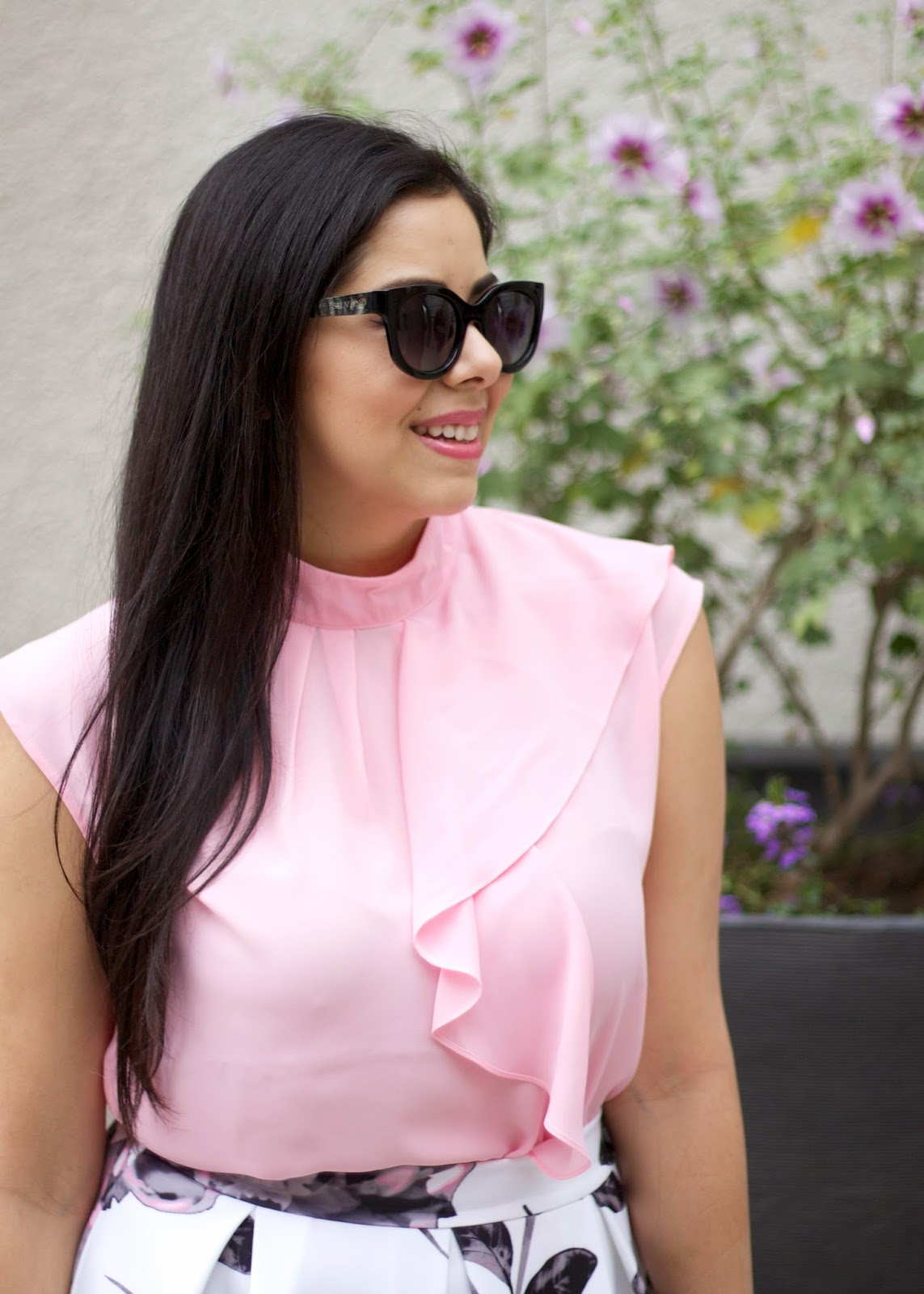 silvano sunglasses, silvano sunglasses blogger, pink flowy top, high neck flowy top from ny & co