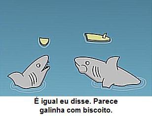 Cartoon piada de tubarão comendo surfista.
