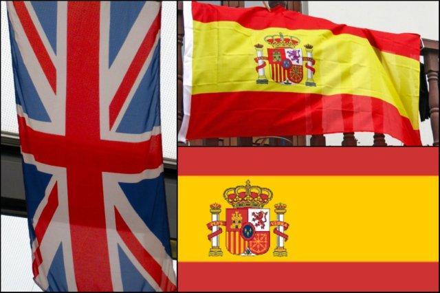Bandera de Reino Unido UK y bandera de España