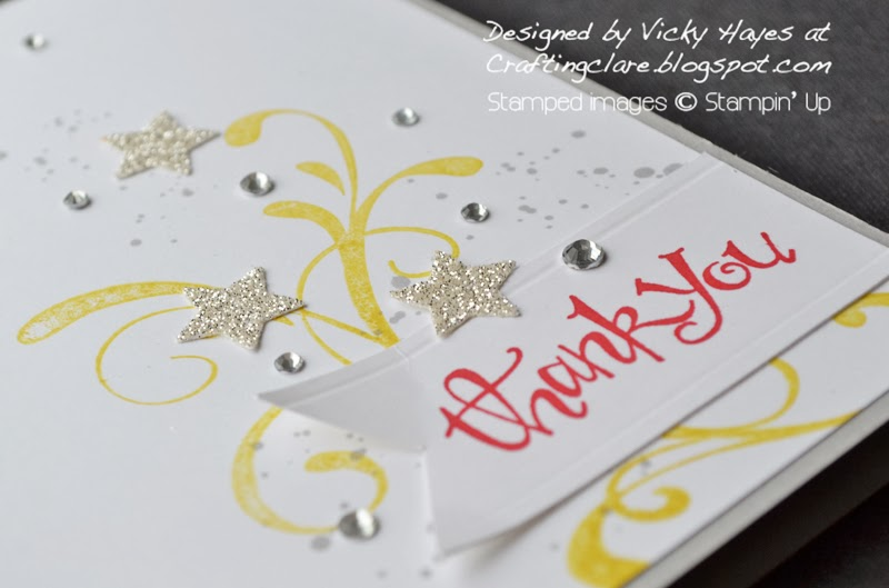 celebration card made with sentiment banner stamped with Sassy Salutations from Stampin Up