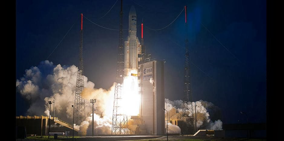 Ariane 5 rocket successfully launches ABS-2 and Athena Fidus satellites. Credit: ESA/CNES/Arianespace