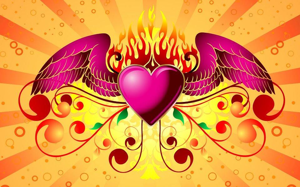 corazón con fuego y alas
