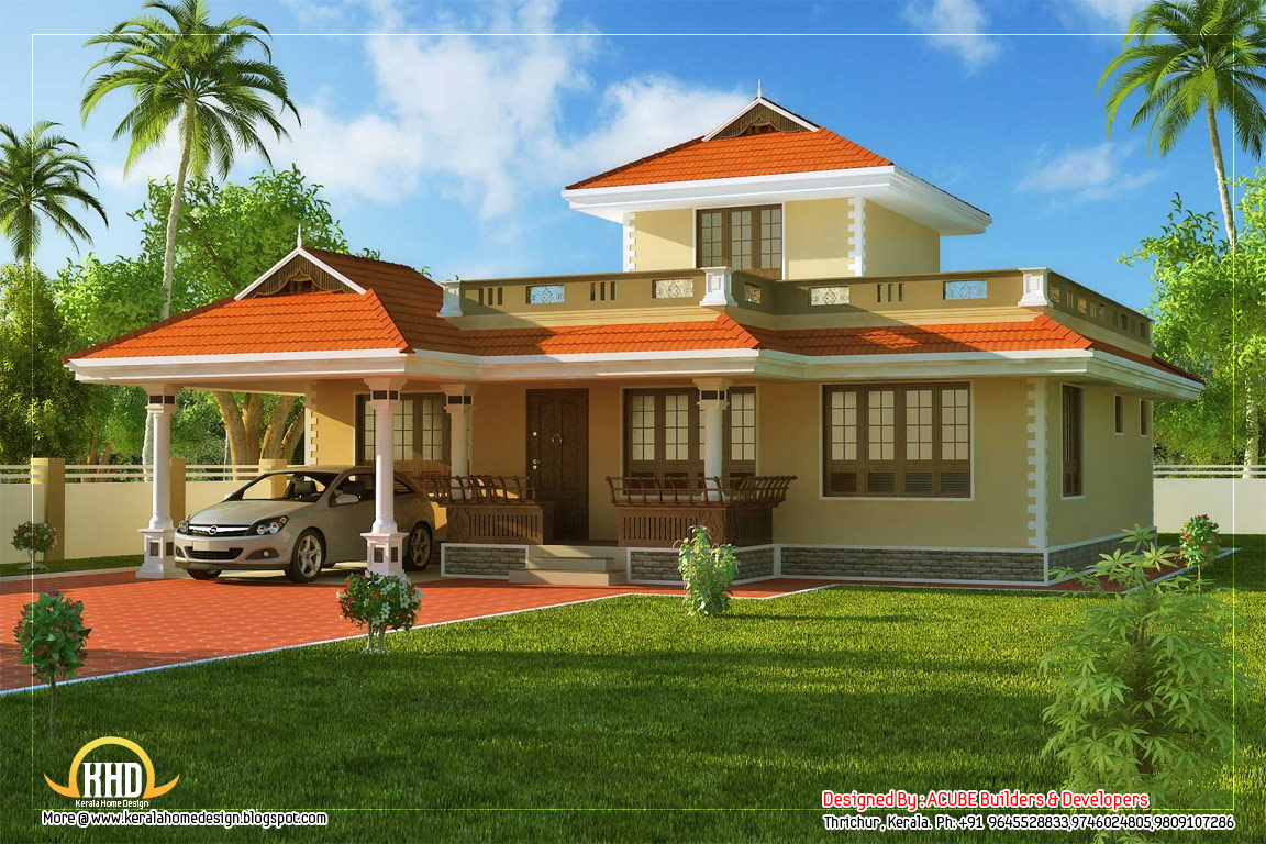 Beautiful kerala style house 1524 sq ft kerala home for Home design beautiful
