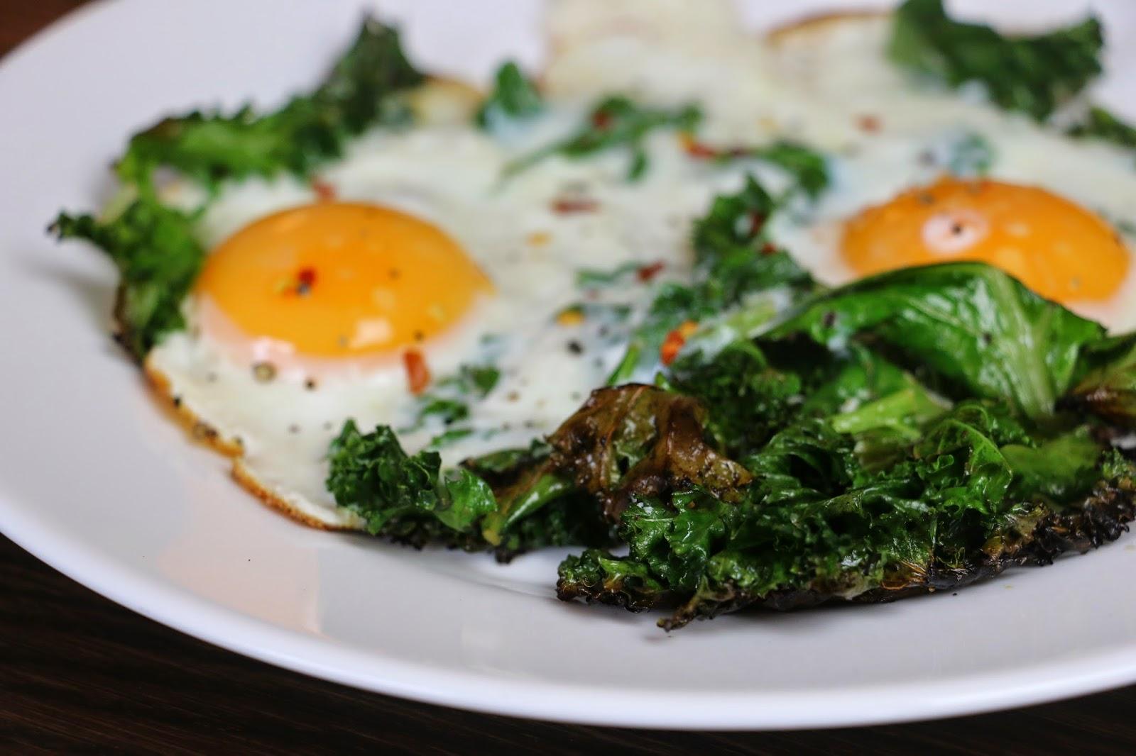 Crispy Curly Kale Fried Eggs