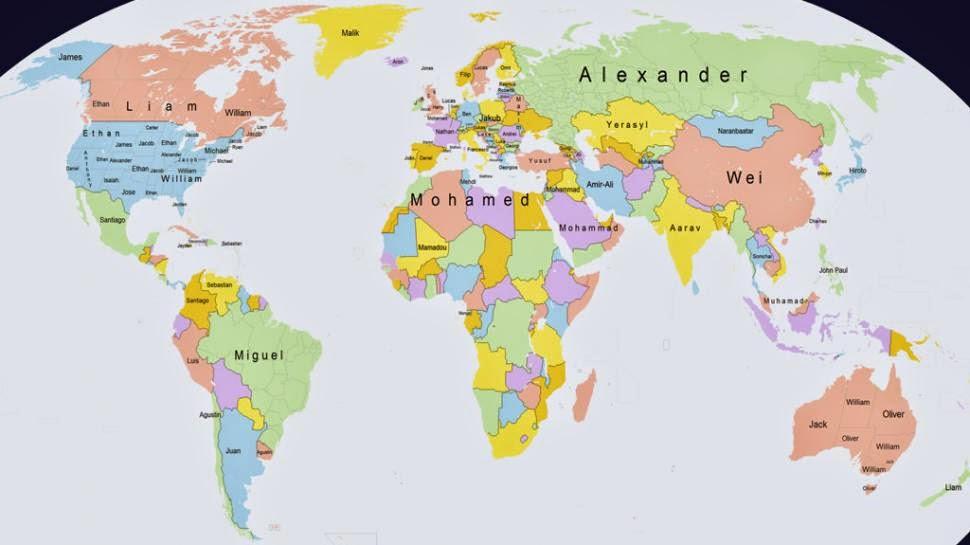 mapa con los nombres más populares de cada país