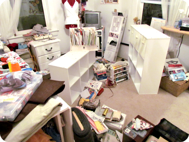 craft room chaos, messy craft room