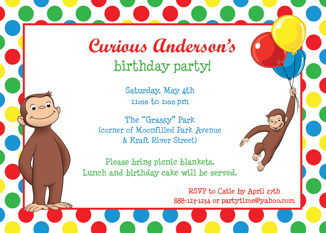 Park Talk Printables Invitations Curious George