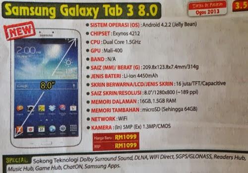 spesifikasi Samsung Galaxy Tab 3 8.0, Samsung Galaxy Tab 3 8 inci, Samsung Galaxy Tab 3
