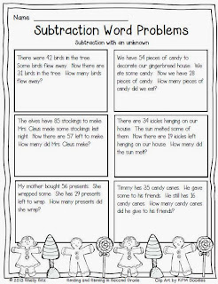 Worksheets Christmas Subtraction Problems smiling and shining in second grade christmas subtraction word problems with unknown
