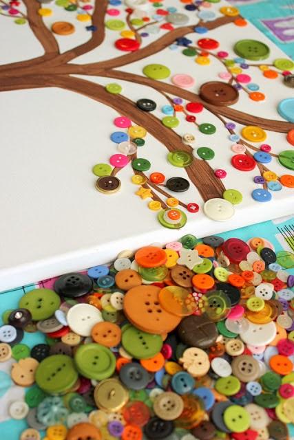 Reciclatex Cómo hacer un cuadro de árbol de botones, manualidad árbol de primavera button tree