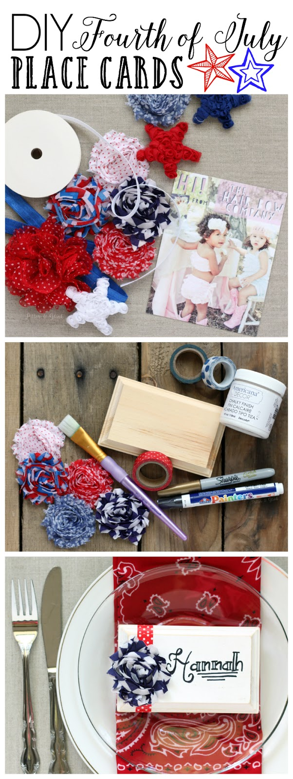 DIY Patriotic Place Cards--Perfect for your 4th of July gathering! www.pitterandglink.com #sponsored