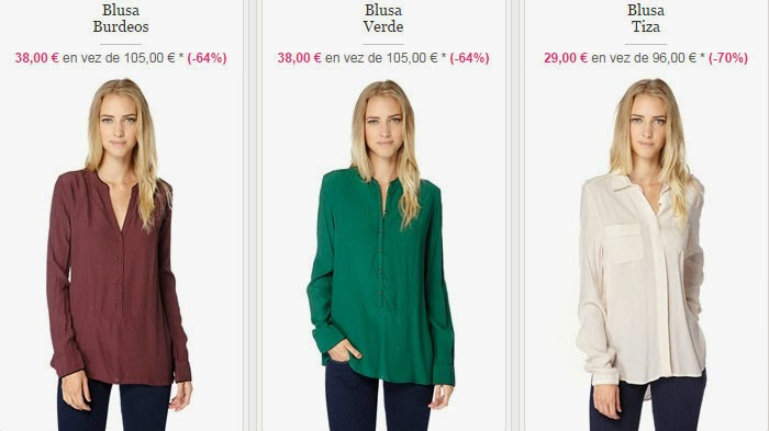 Tres ejemplos de las blusas para mujer de esta oferta