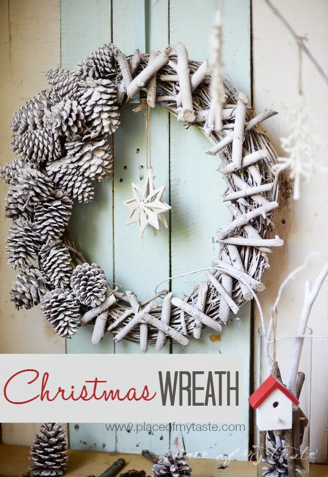 Christmas wreath from woods and pinecones