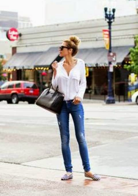White Shirt , Denim, Flats, handbag | Women Fashion