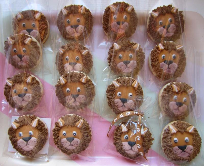 Galletas decoradas cabeza leon, cumpleaños