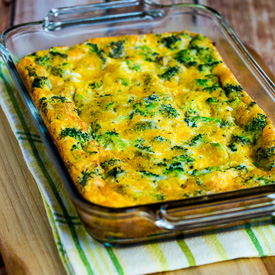 Low-Carb Broccoli Cheese Breakfast Casserole Recipe found on KalynsKitchen.com