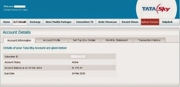 Account Details Screenshot, Tata Sky Recharge Login, Tata Sky Recharge Online