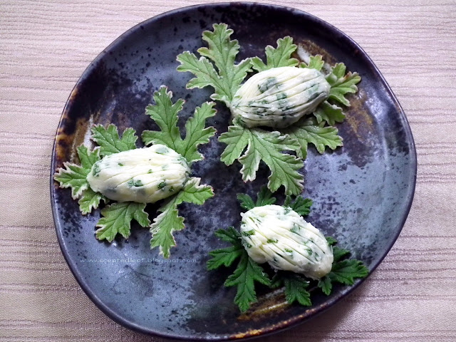 Herb Butter with Mint Scented Pelargoniums Leaves