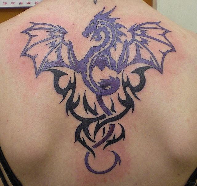 Tribal dragon tattoo3d tattoos for Dragon back tattoo
