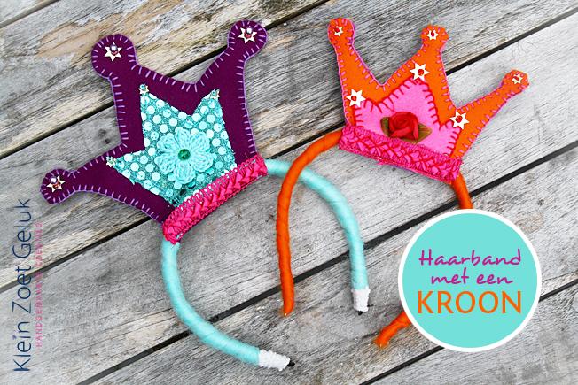 Haarband paars/mint en oranje kroon - Klein Zoet Geluk
