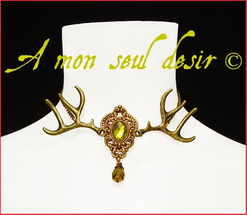 Collier Bois de Cerf Bronze Taxidermie Actéon Artémis Antler Deer Taxidermy Necklace