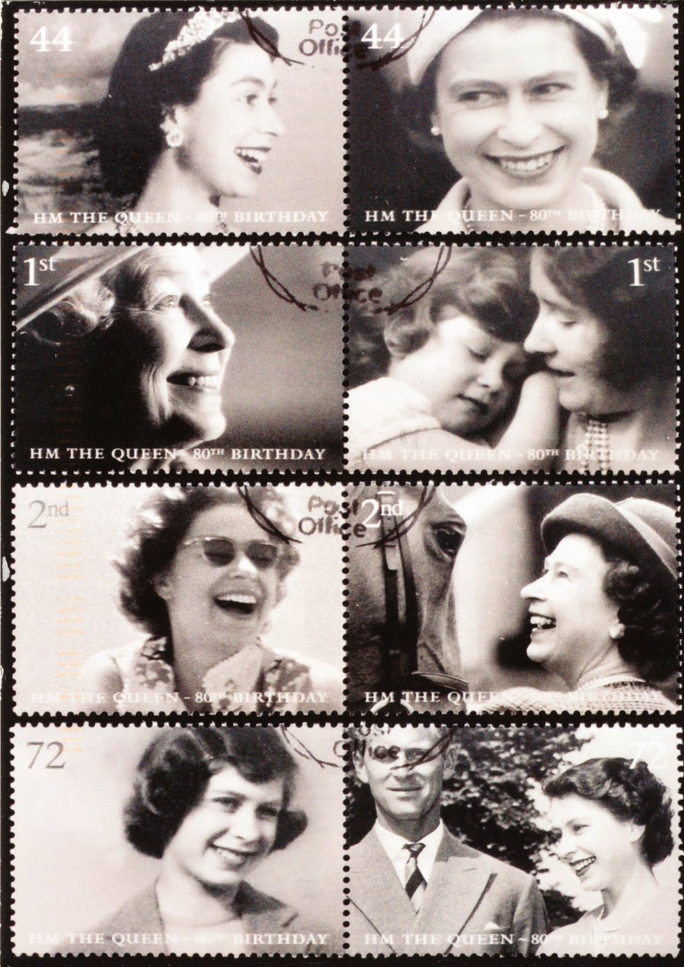 elizabeth II, postcard, stamps, england, united kingdom