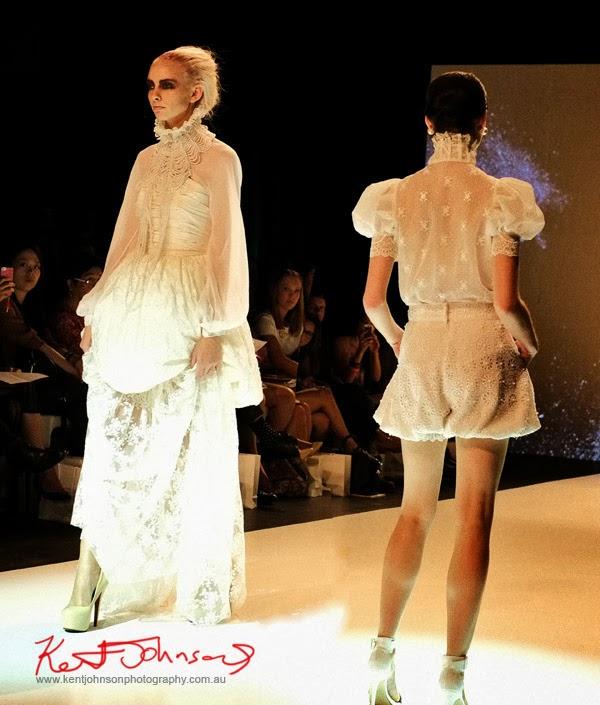 Skye Hay, soft feminine white lace dresses, New Byzantium : Raffles Graduate Fashion Parade 2013 - Photography by Kent Johnson.
