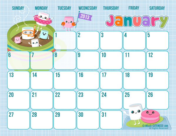 Butterfly Kisses of Love: *Free Cute Printable January 2013 Calendar!*