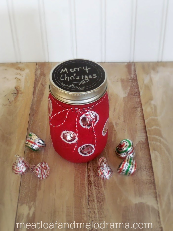 red and white mason jar gift idea made with americana chalky finish paint, white paint pen and twine