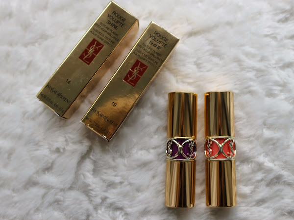 Yves Saint Laurent Rouge Volupte Shine Lipsticks 19 & 14.