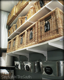 Simplicity In The South: Laundry Room Reveal. Baskets with chalkboard labels.