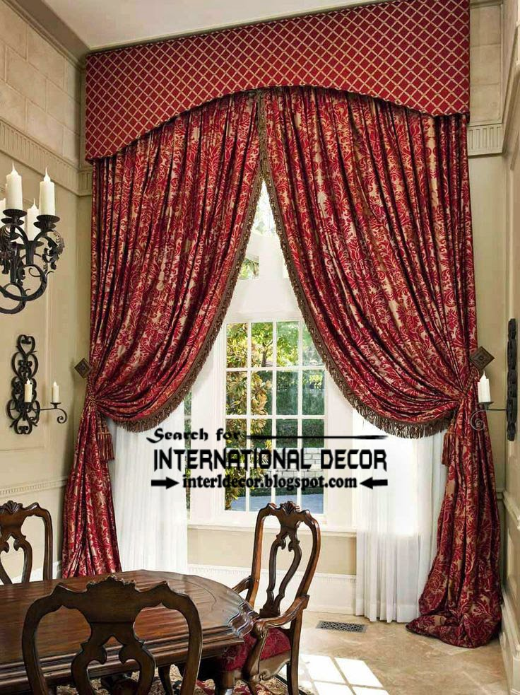 Classic country curtains for dining room, burgundy curtains, floral patterned curtain