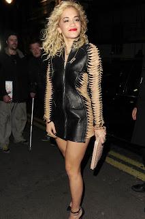 Rita Ora Tight Leather Minidress