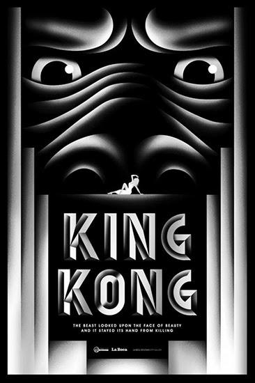 cartel de la boca del 80 aniversario de king kong