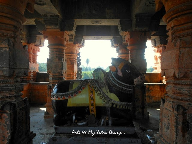 The colorful ornate Nandi Bull at the Sangameshwar Shiva Temple, Saswad, Pune