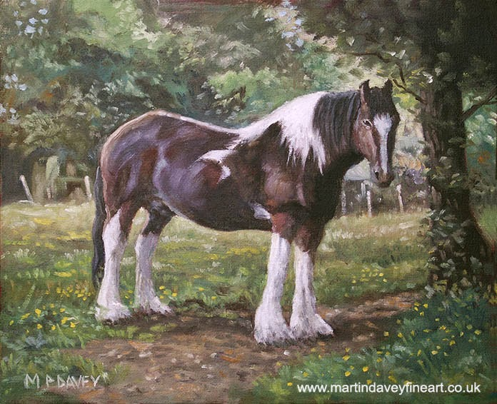 Big horse in field – oil painting artist Martin Davey