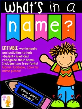 http://www.teacherspayteachers.com/Product/Whats-in-a-name-Editable-name-activities-and-name-plates-1378149