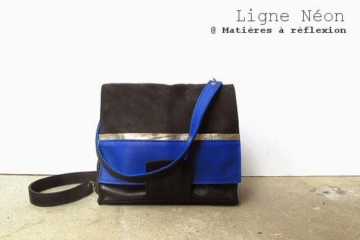 Sac en cuir vintage bleu et noir : le Mini-néon Matières à réflexion